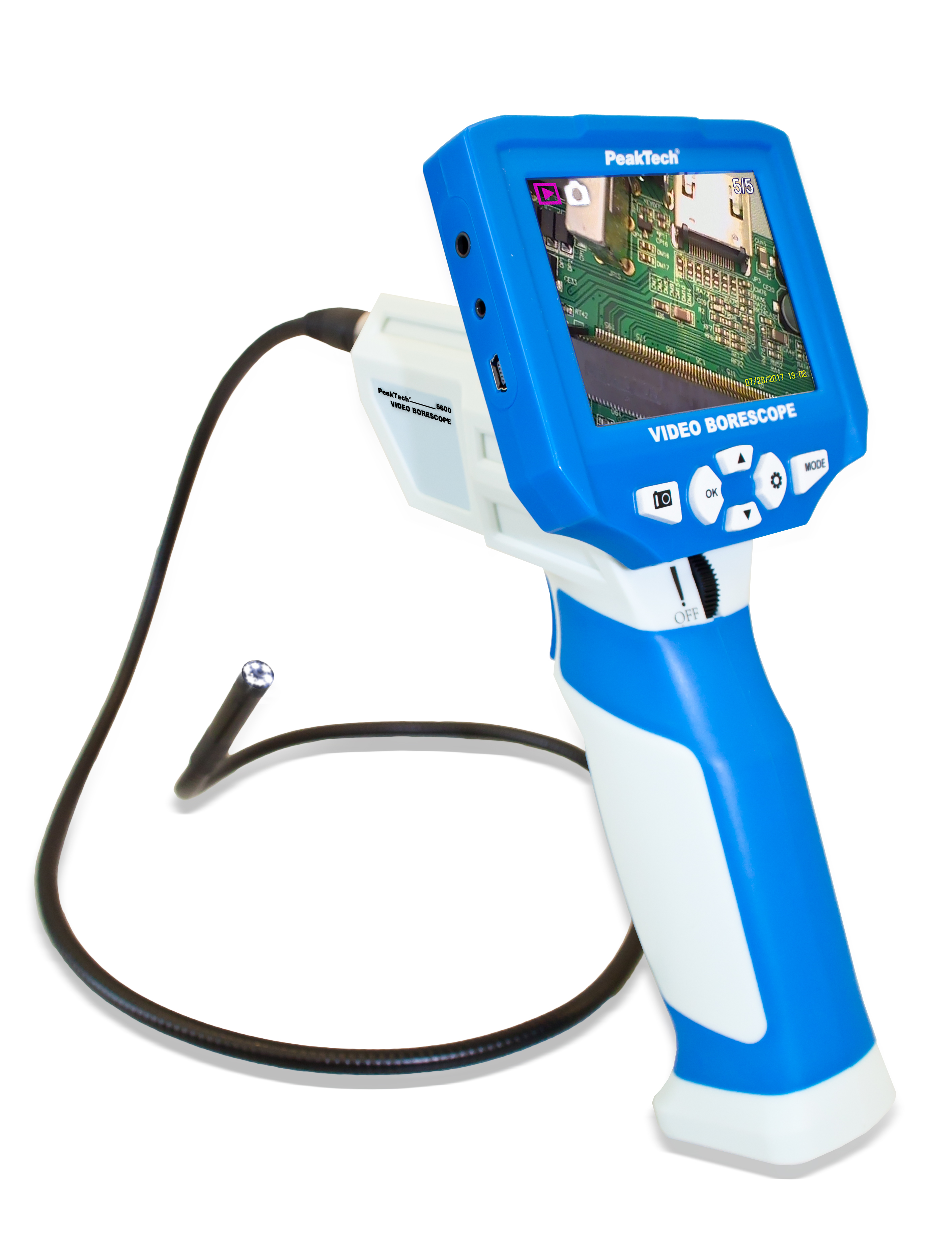 «PeakTech® P 5600» Video Borescope, Color TFT, USB and SD card