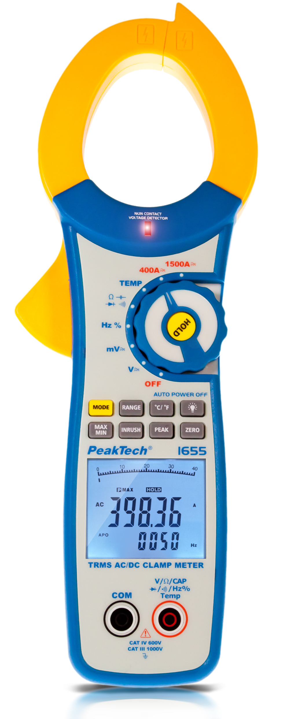 «PeakTech® P 1655» TrueRMS clamp meter 40,000 counts 1500 A AC/DC