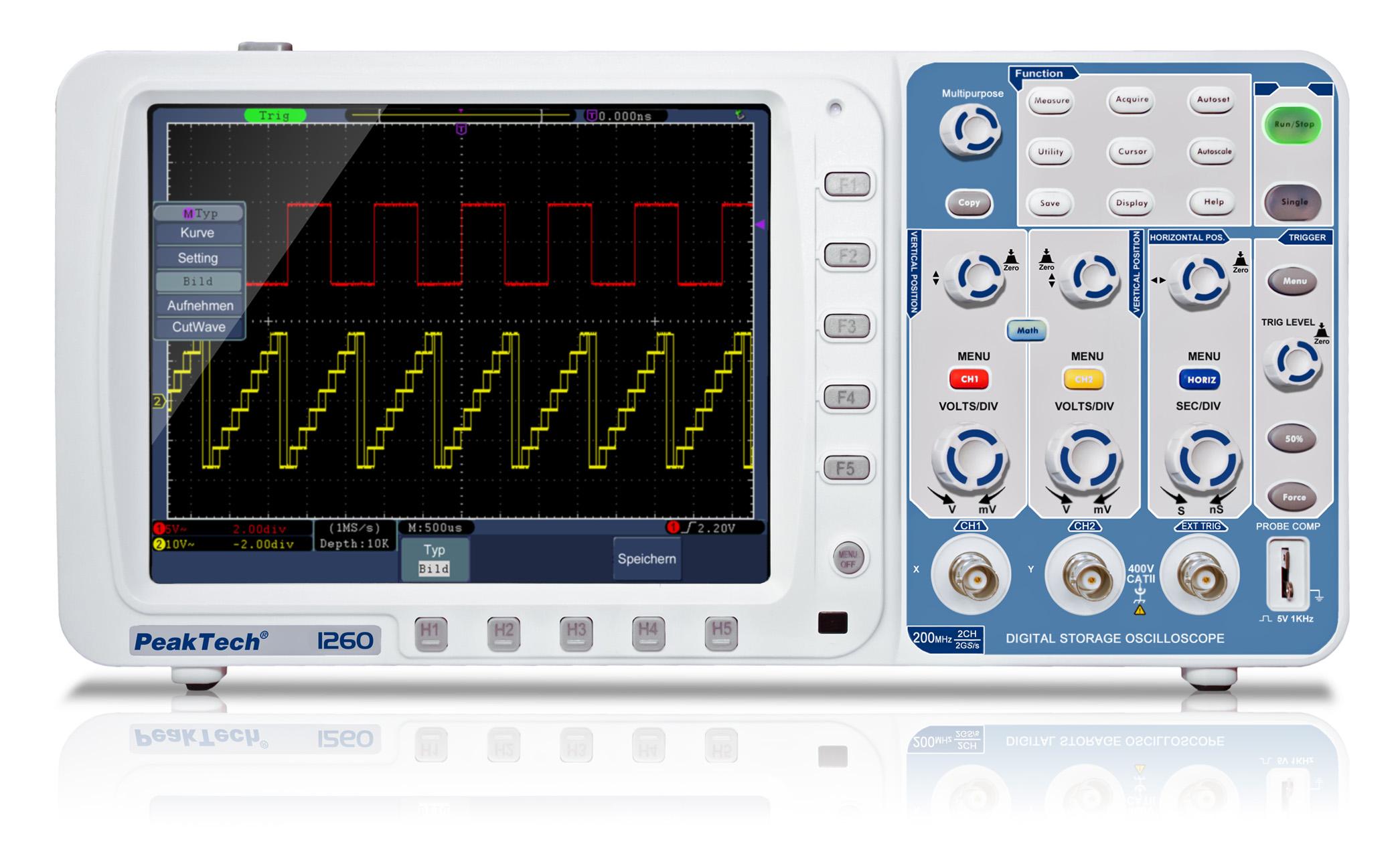 «PeakTech® P 1260» 200 MHz/2CH, 2 GS/s, Digital Storage Oscilloscope
