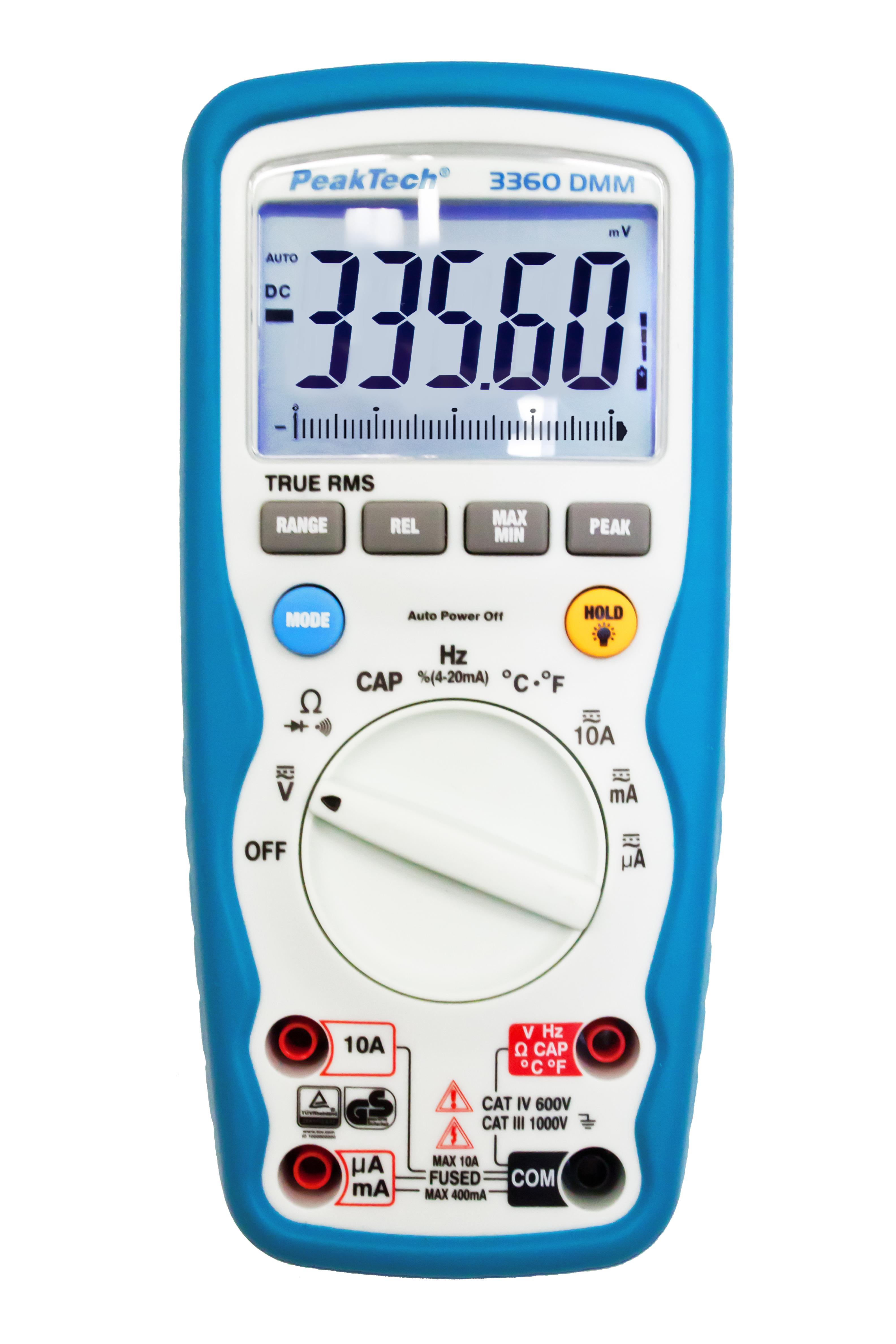«PeakTech® P 3360» Digital multimeter, 40,000 counts, IP67 & TrueRMS