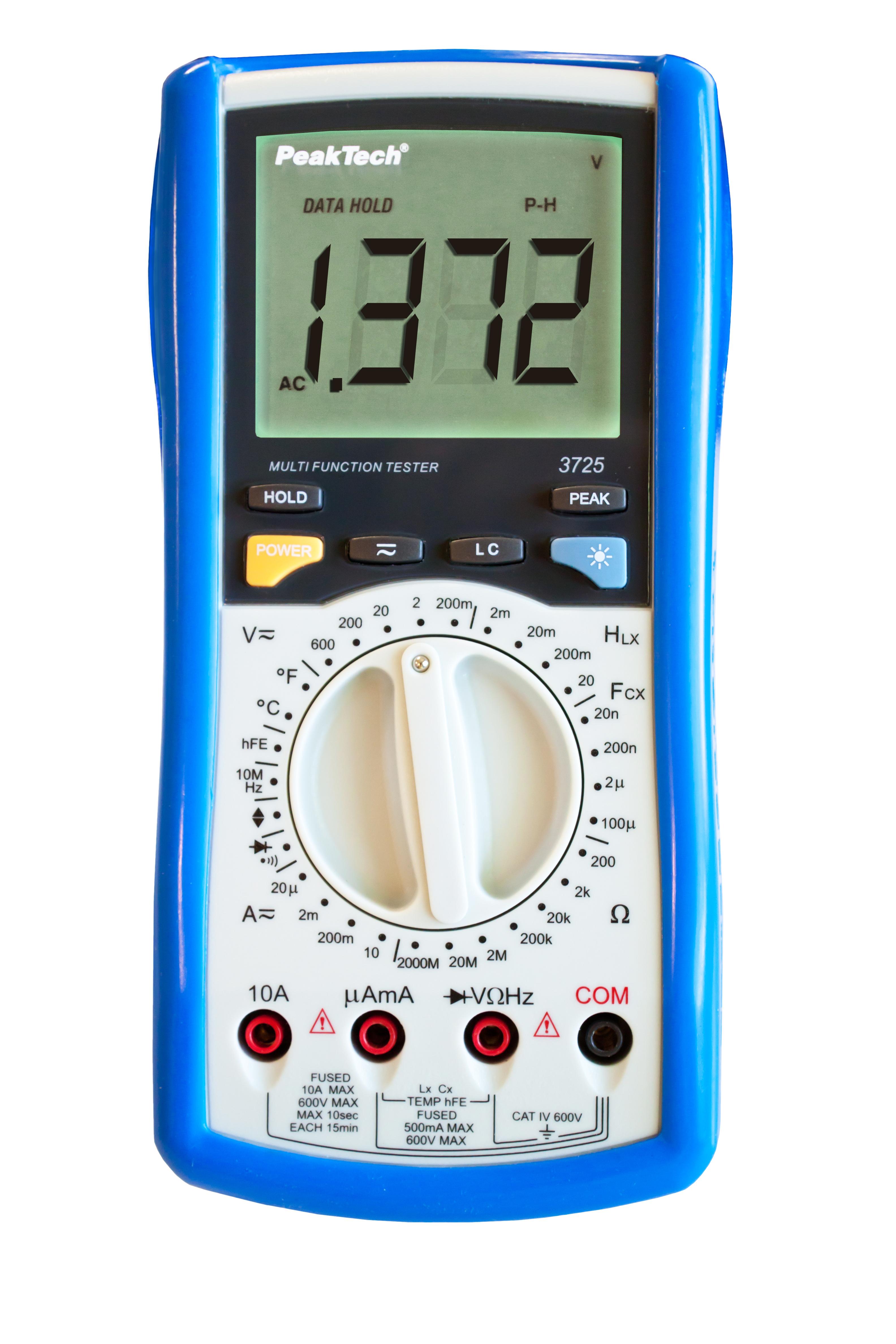 «PeakTech® P 3725» Digitalmultimeter ~ 2.000 Counts ~ mit LCR-Meter ~ 2000MOhm ~ 100µF ~ 20H