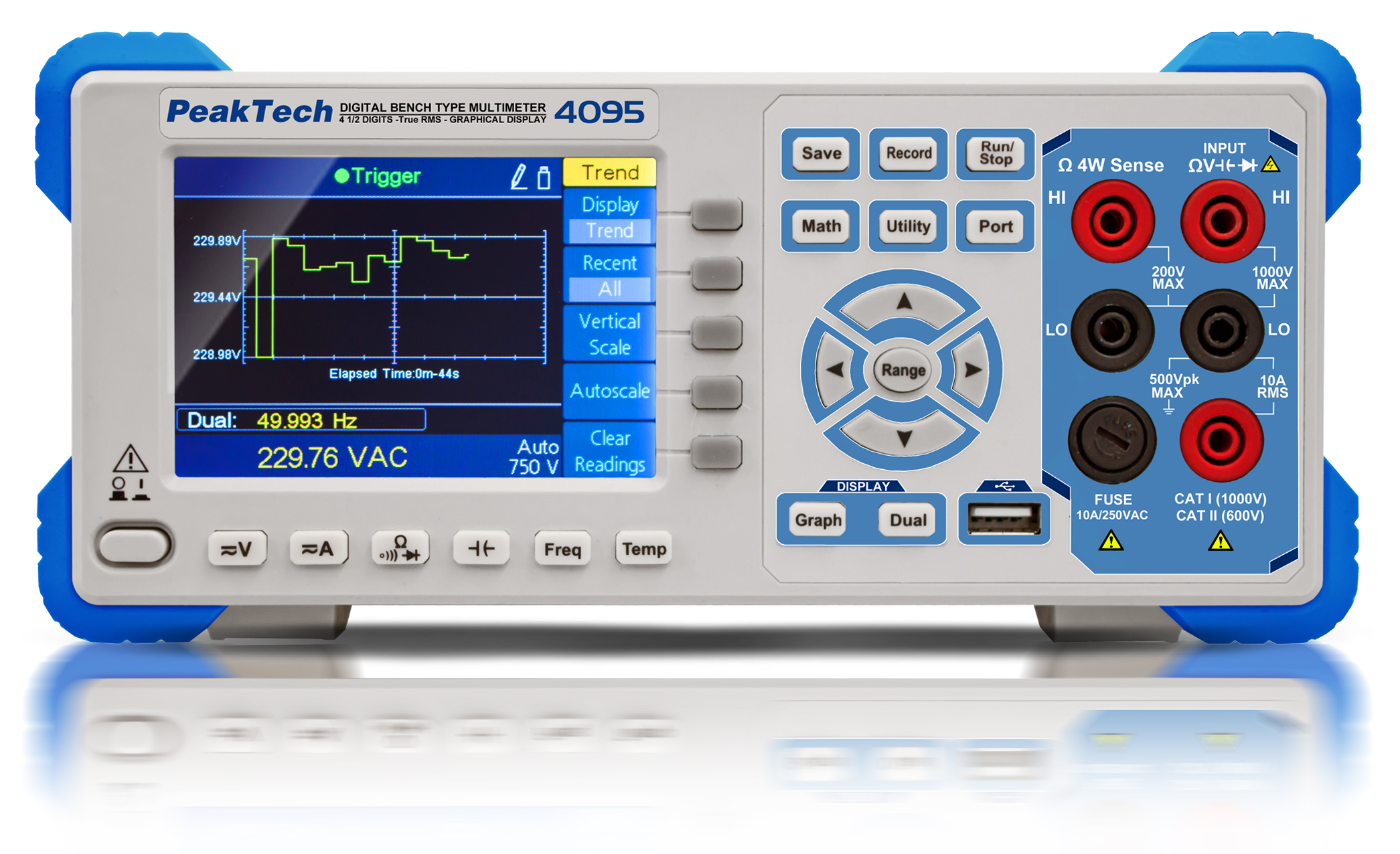 «PeakTech® P 4095» Graphical bench multimeter, 60.000 counts with TFT