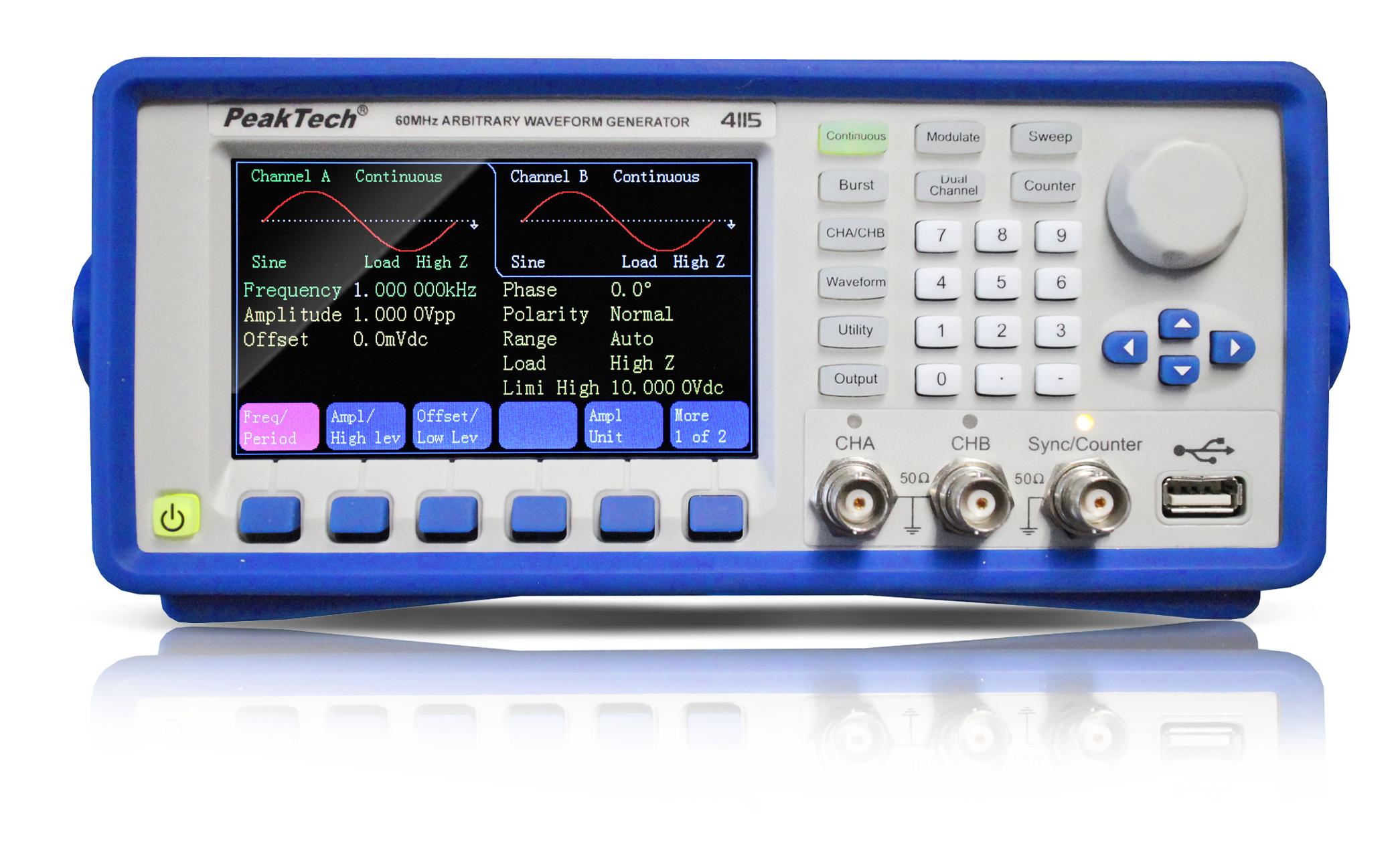 «PeakTech® P 4115» 2CH arbitrary function generator, 1 µHz - 60 MHz