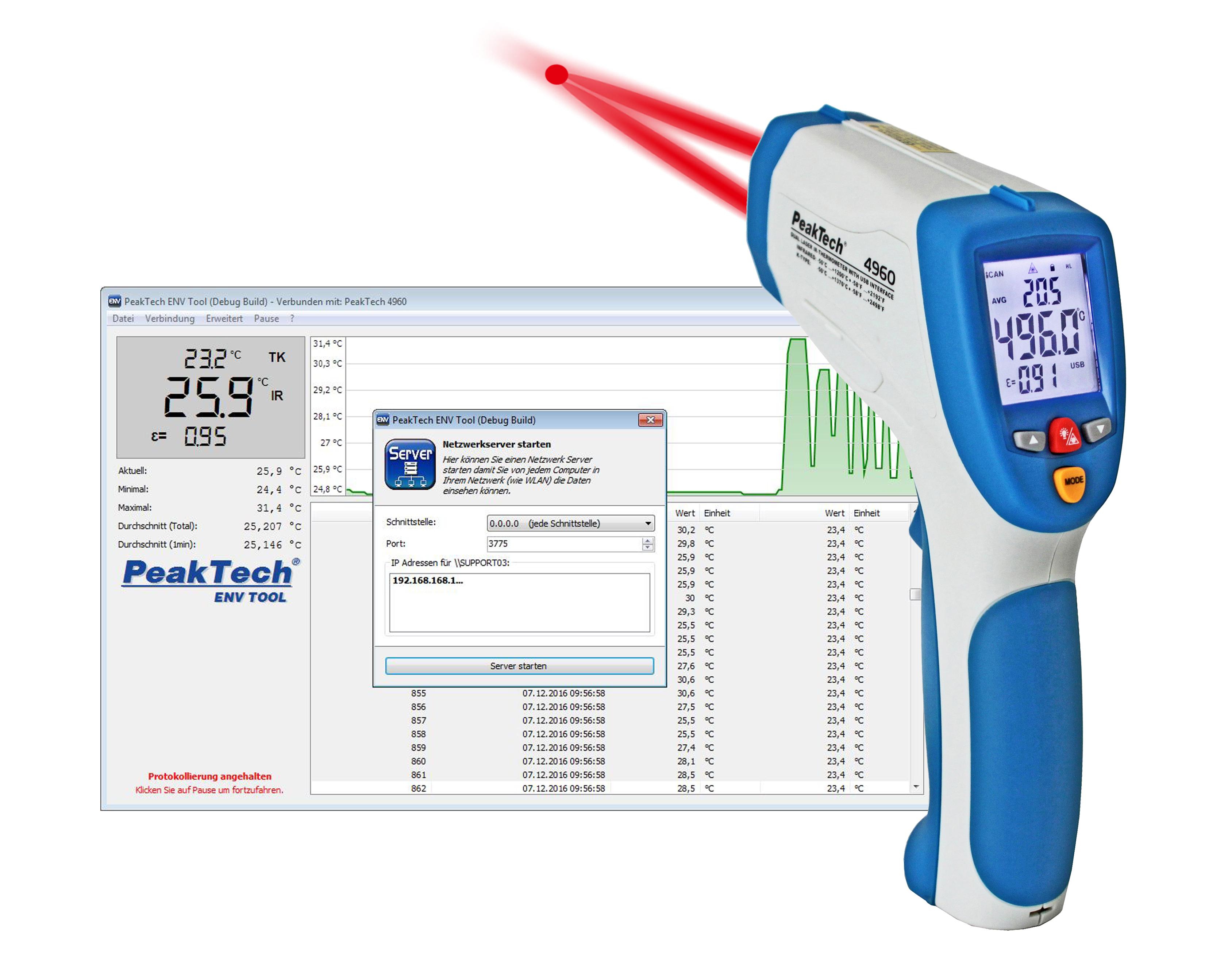 «PeakTech® P 4960» IR-Thermometer; -50 … +1200°C; USB-Interface