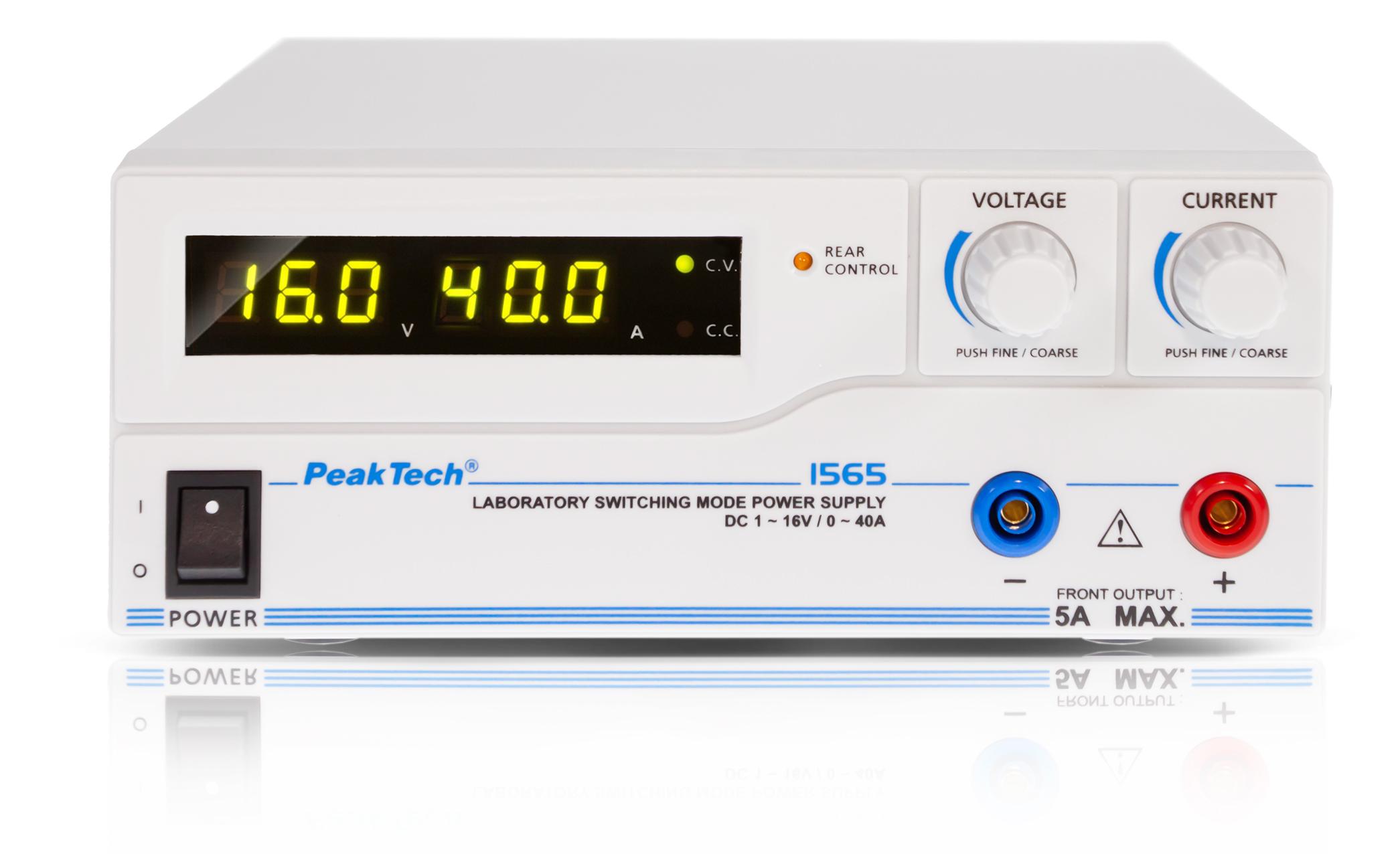 «PeakTech® P 1565» Laboratory power supply DC 1 - 16V/0 - 40A & USB