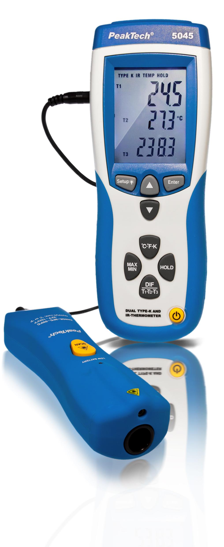 «PeakTech® P 5045» IR-Thermometer ~ -30 ... +550°C ~ mit Dual Typ-K Messung -200 ... +1370°C