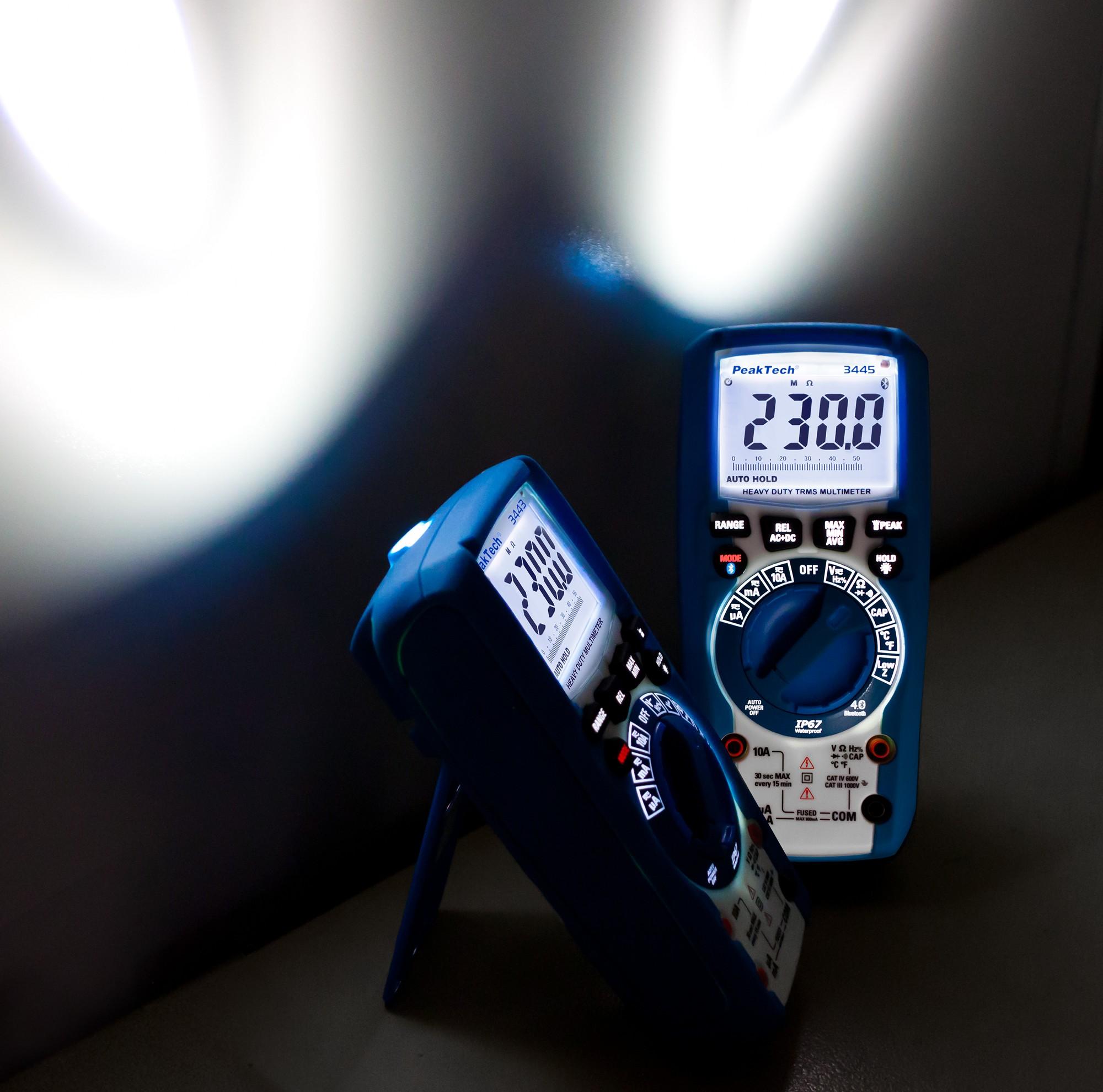 «PeakTech® P 3445» TrueRMS digital multimeter 6,000 counts, IP67, BT