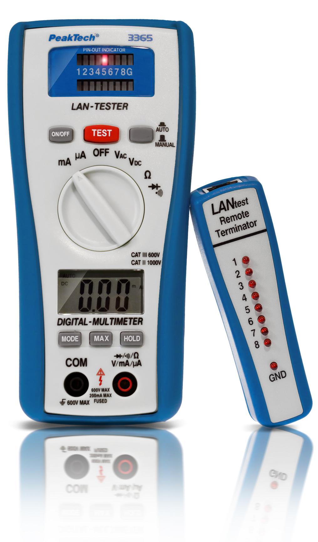 «PeakTech® P 3365» Digital multimeter, 2,000 counts, with LAN tester