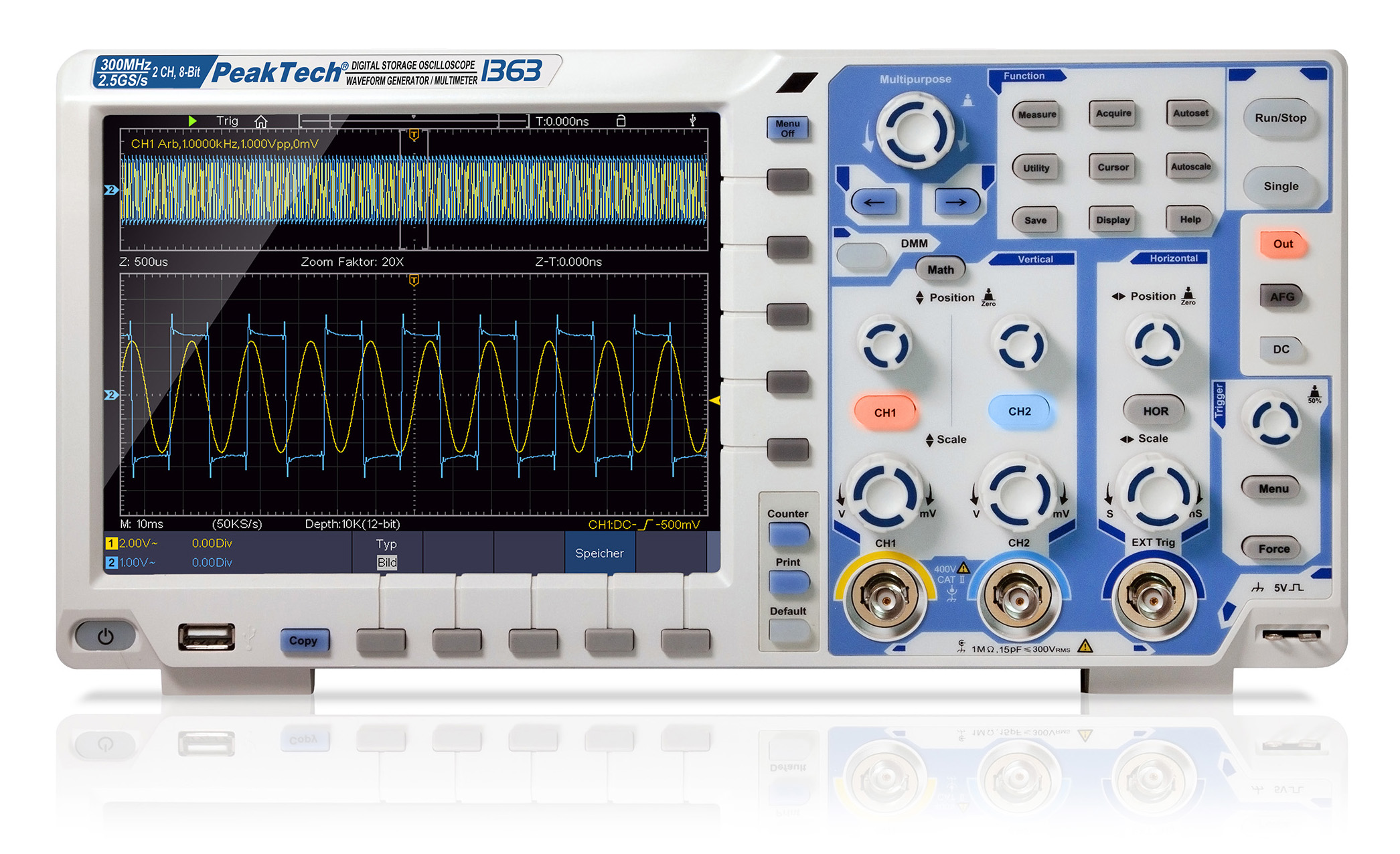 «PeakTech® P 1363» 300 MHz / 2 CH, 2.5 GS/s touchscreen oscilloscope