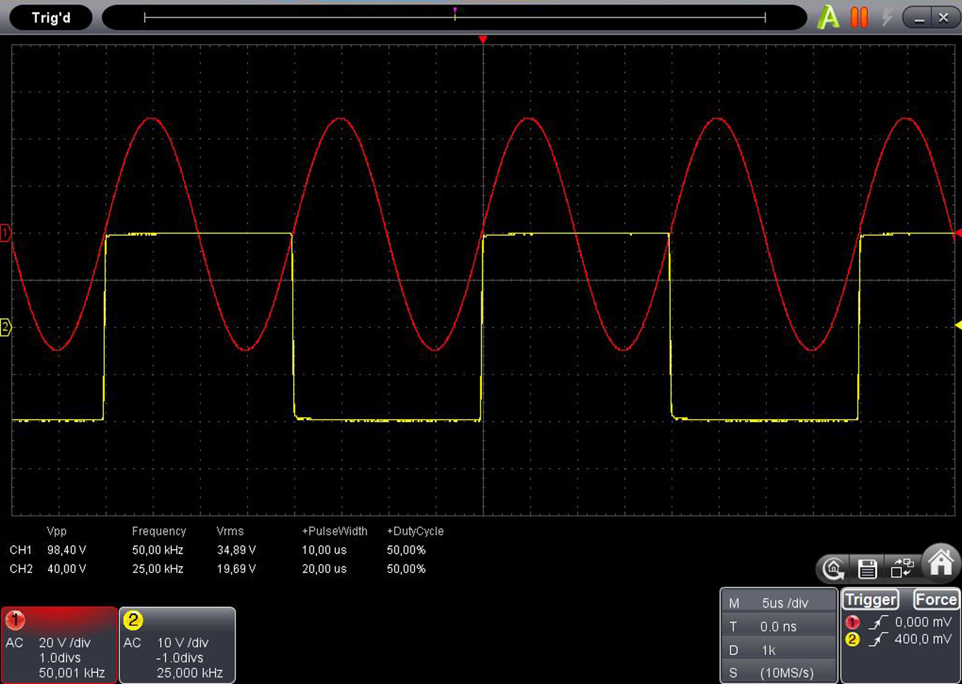«PeakTech® P 1325» 60 MHz / 4 CH, 500 MS/s PC oscilloscope, USB & LAN