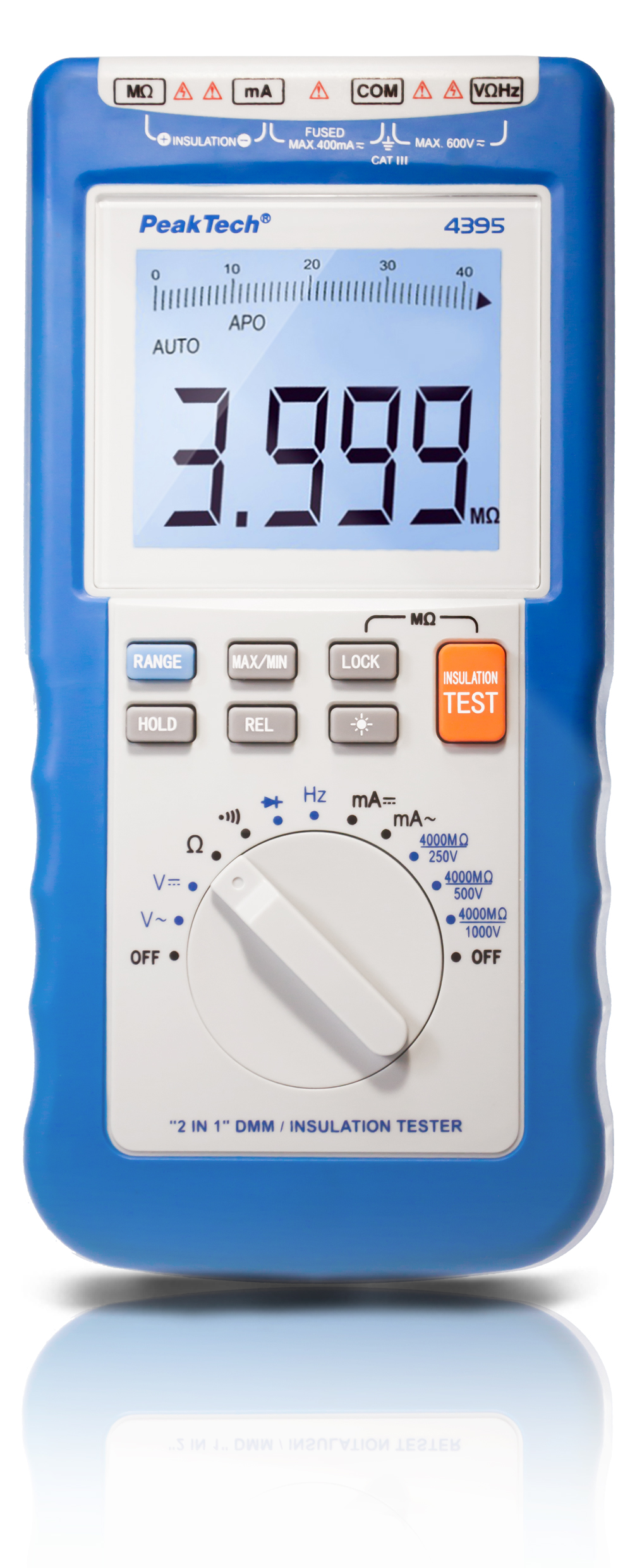 «PeakTech® P 4395» 2 in 1 DMM/insulation Tester, 250/500/1000 V