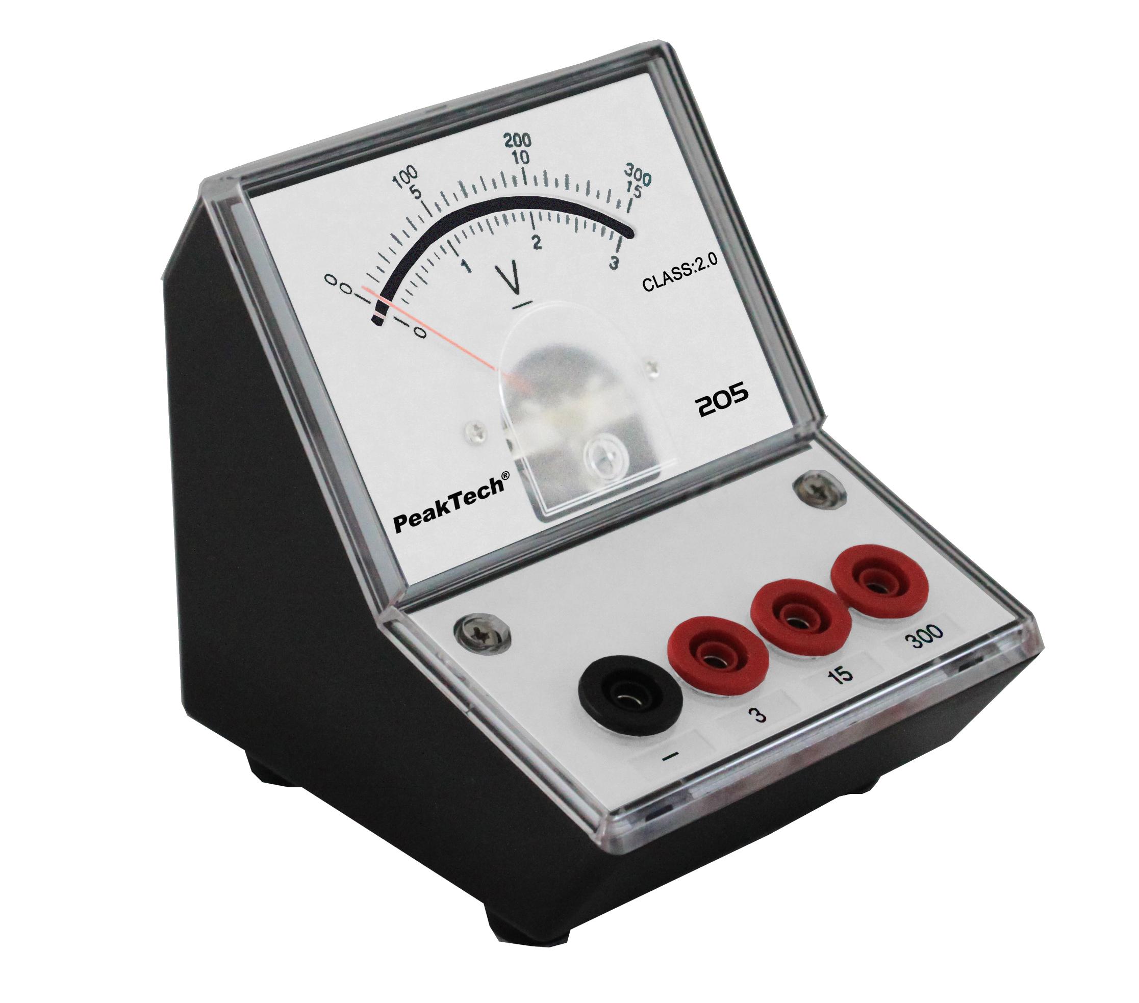 «PeakTech® P 205-07» Analog voltmeter - 0 ... 3V/15V/300V DC