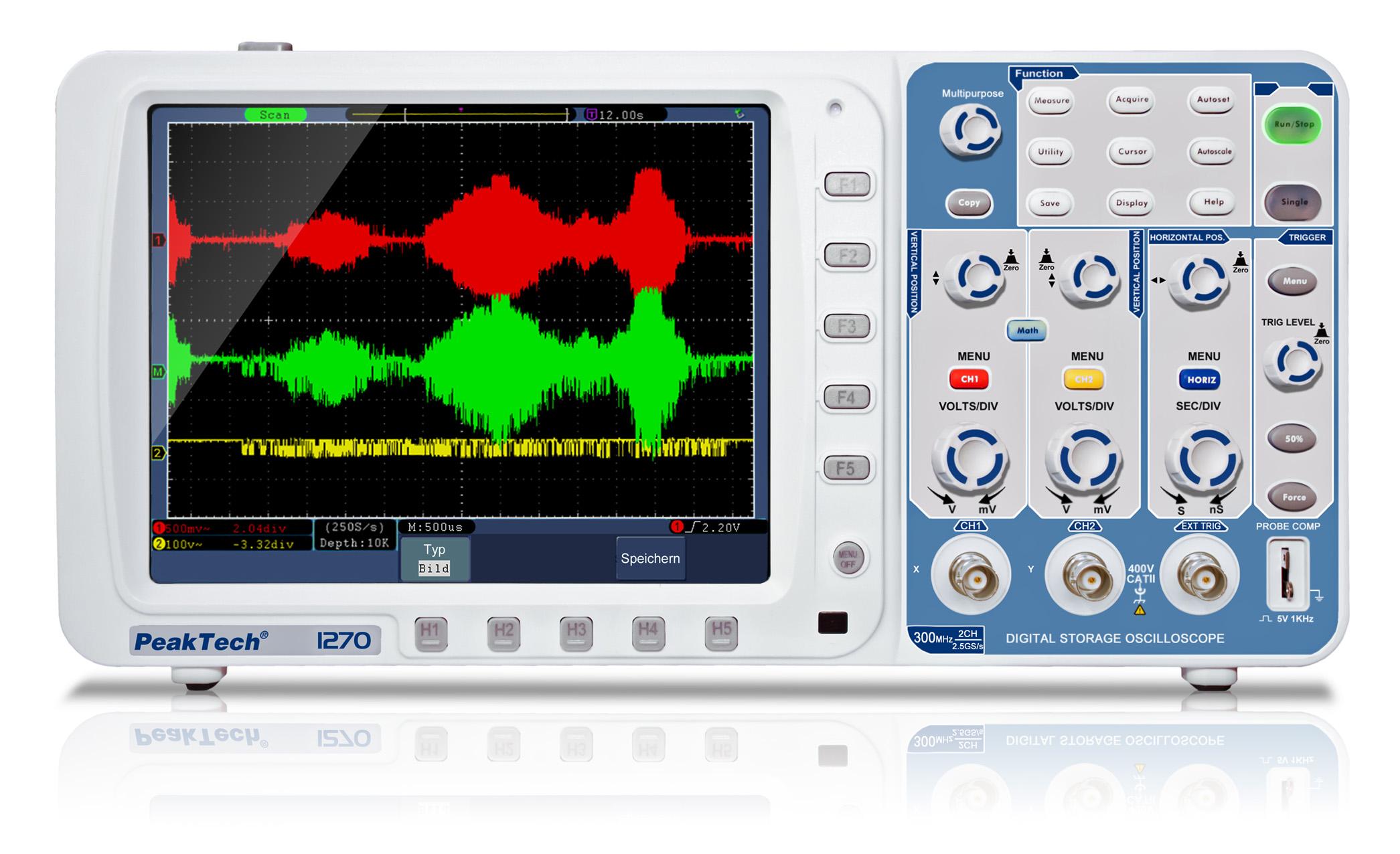 «PeakTech® P 1270» 300 MHz/2CH, 2,5 GS/s Digital Storage Oscilloscope