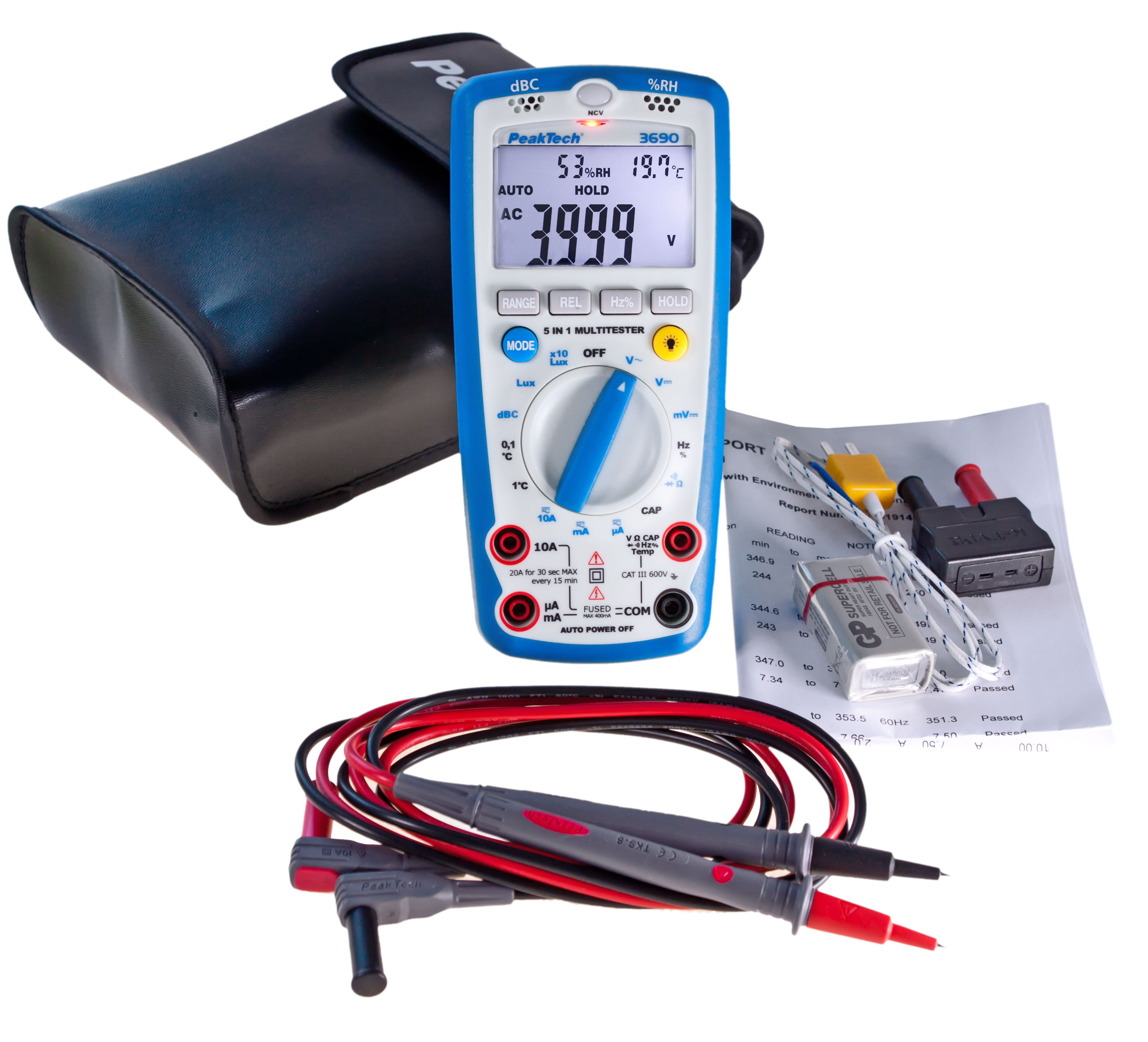 «PeakTech® P 3690» 4000 counts multimeter, environmental measurements