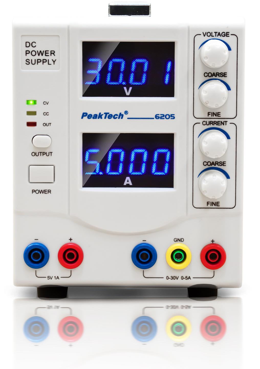 «PeakTech® P 6205» Digital Power Supply, 0 - 30 V/0 - 5 A DC