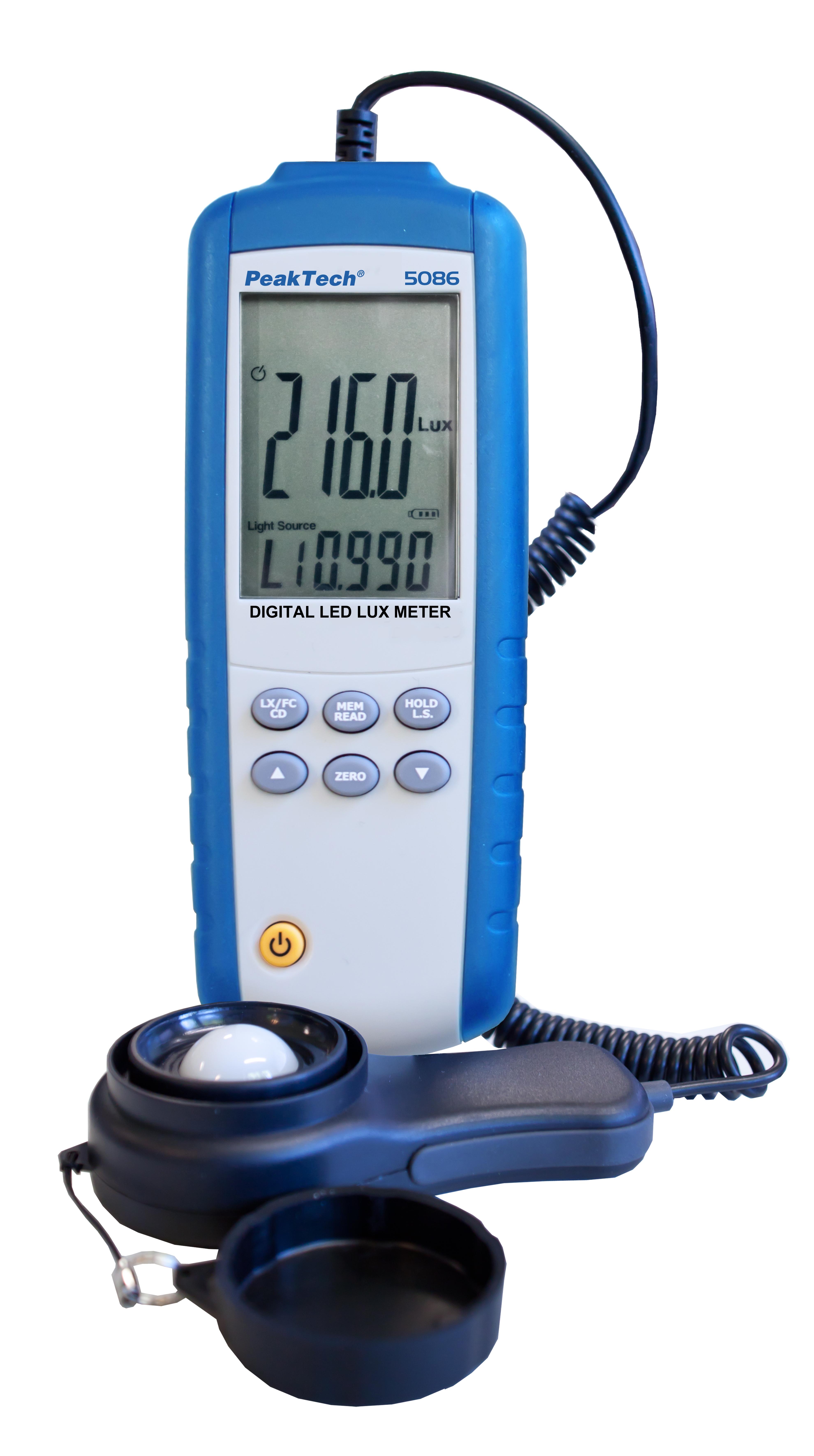 «PeakTech® P 5086» Digital LED Lux Meter, 3 3/4-digit
