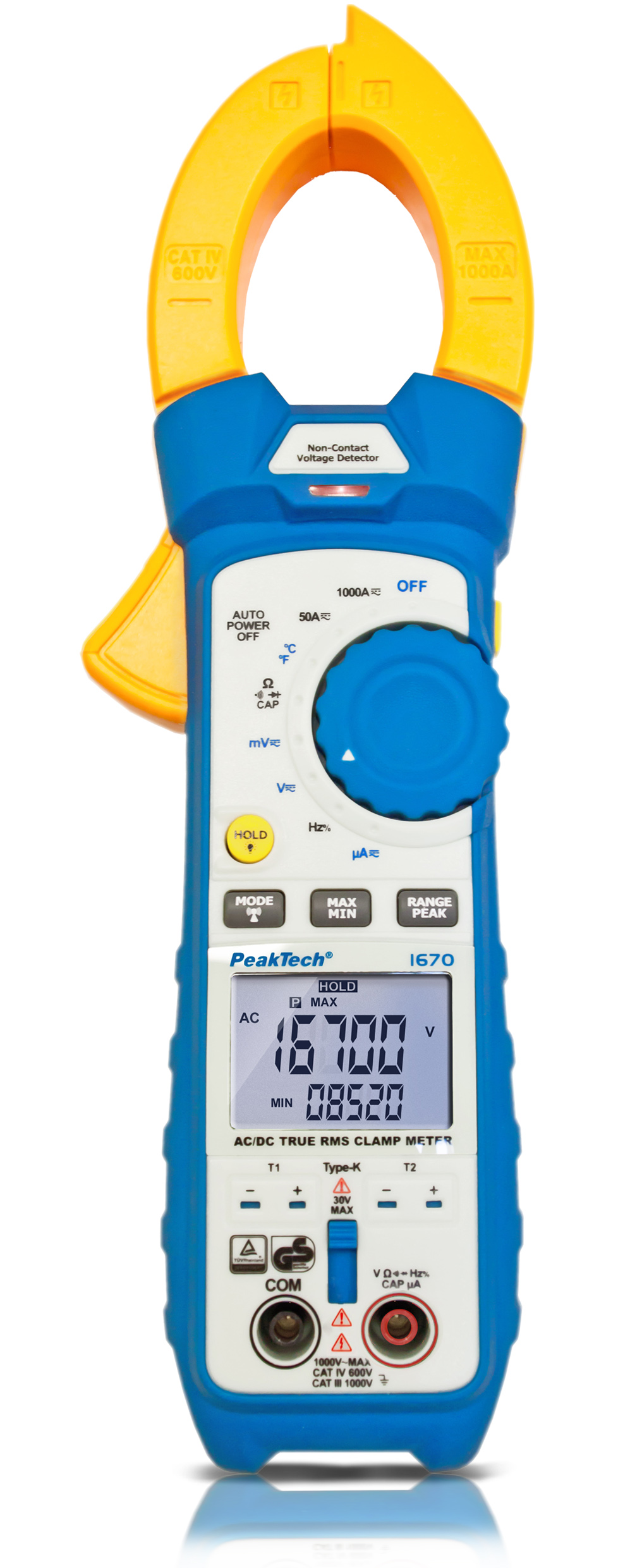 «PeakTech® P 1670» TrueRMS clamp meter 50,000 counts 1000 A AC/DC, BT