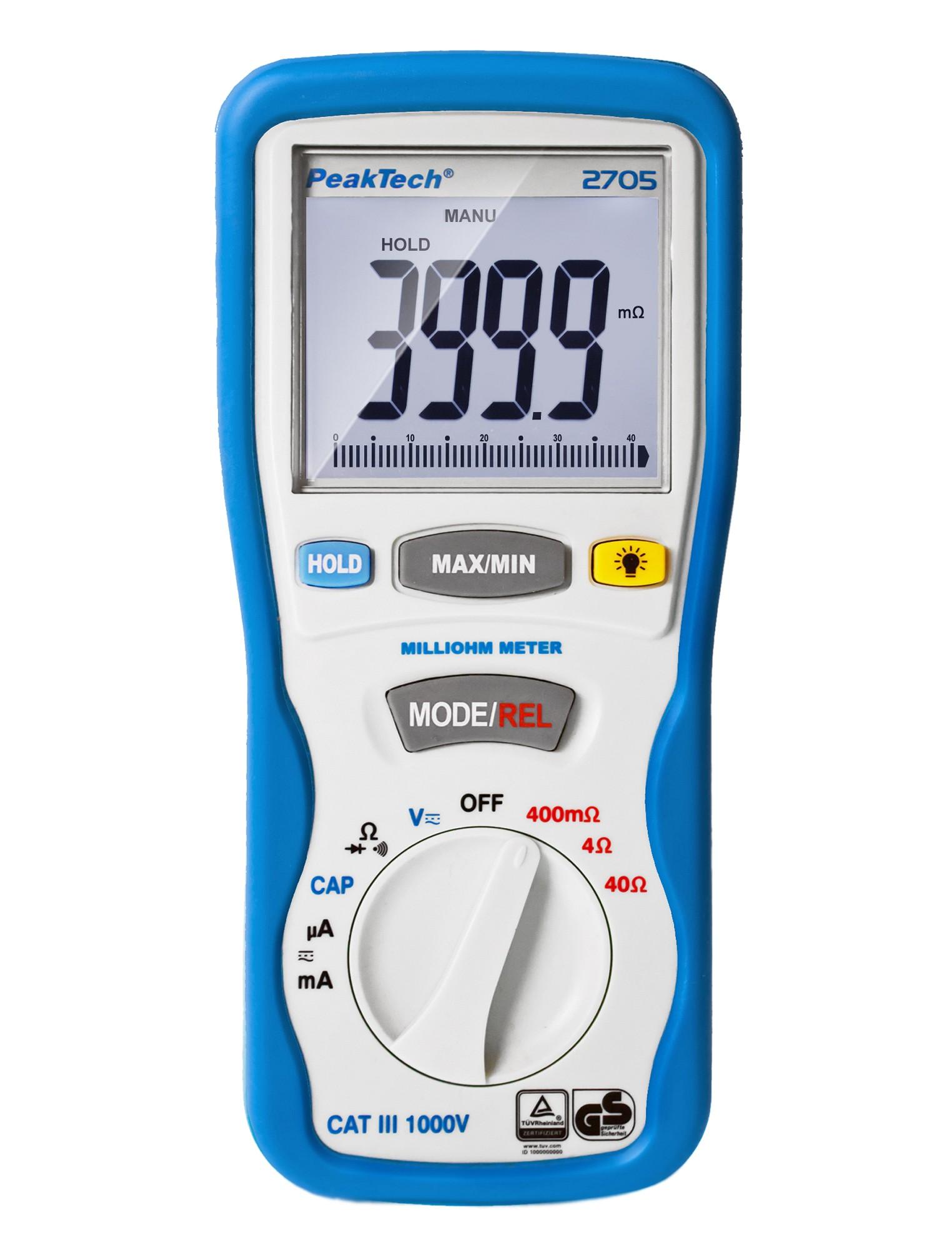 «PeakTech® P 2705» Digital milliohmmeter, 4,000 counts, 400 mΩ/4/40/Ω