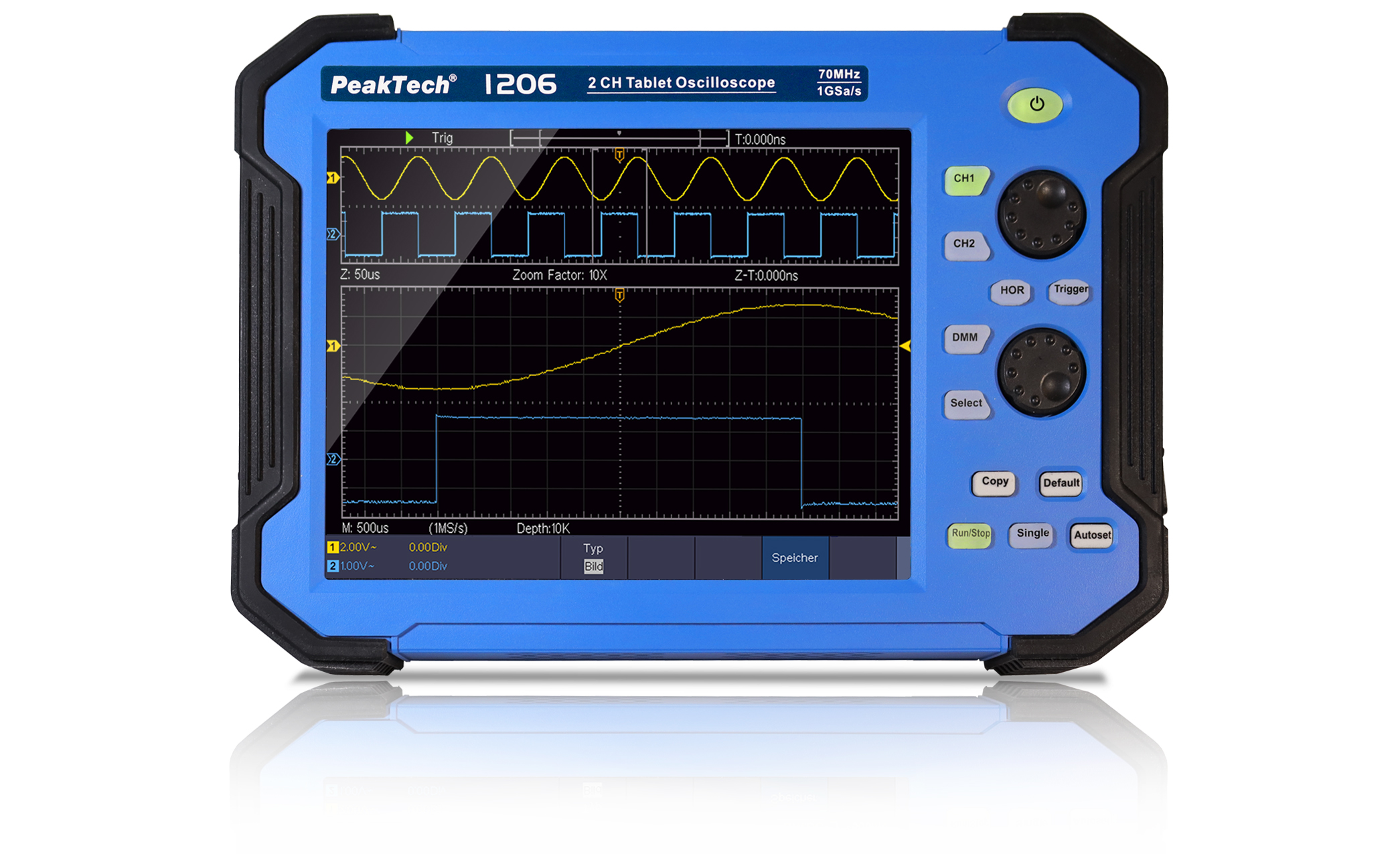 «PeakTech® P 1206» 70 MHz / 2 CH, 1 GS/s tablet oscilloscope