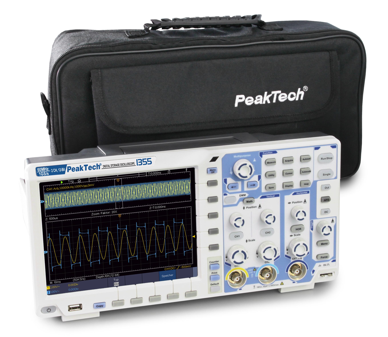 «PeakTech® P 1355» 60 MHz / 2 CH, 1 GS / s touchscreen oscilloscope