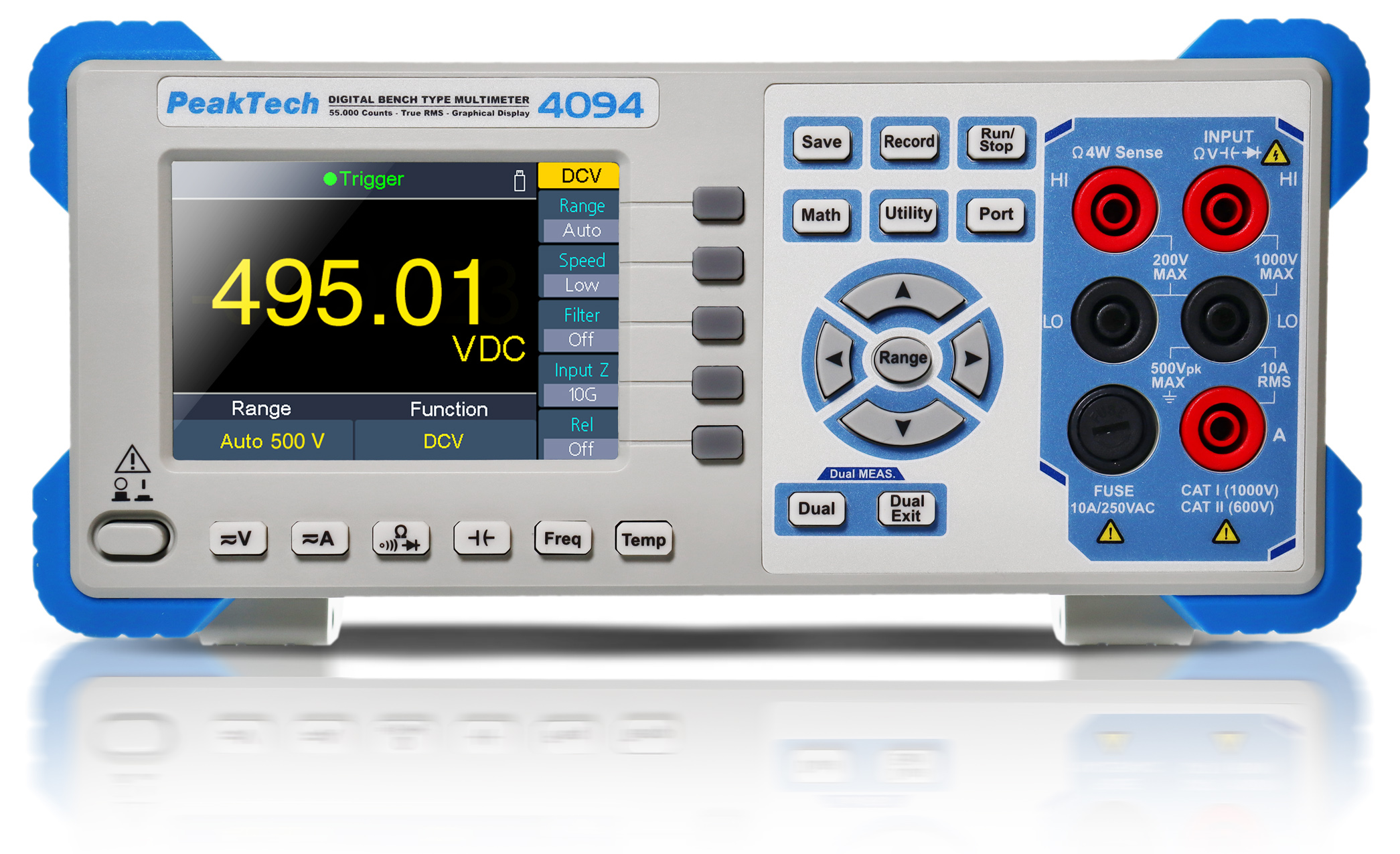 «PeakTech® P 4094» Graphical bench multimeter, 55.000 counts with TFT