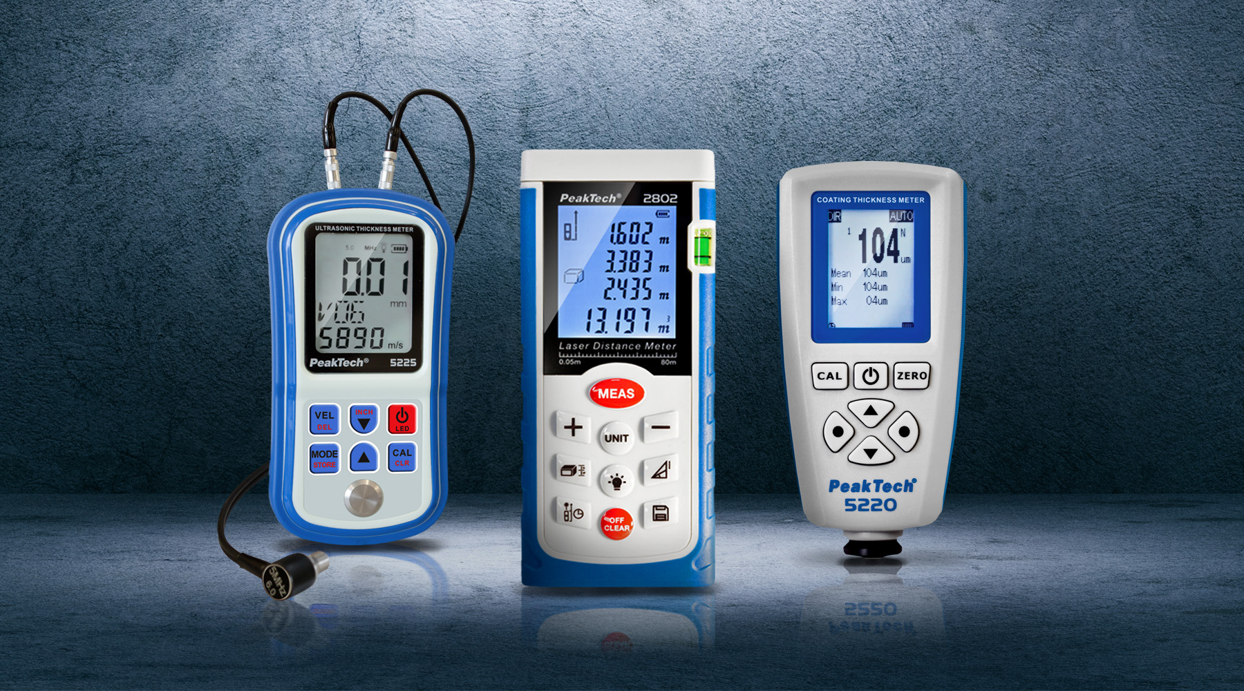Distance, coating and thickness meters