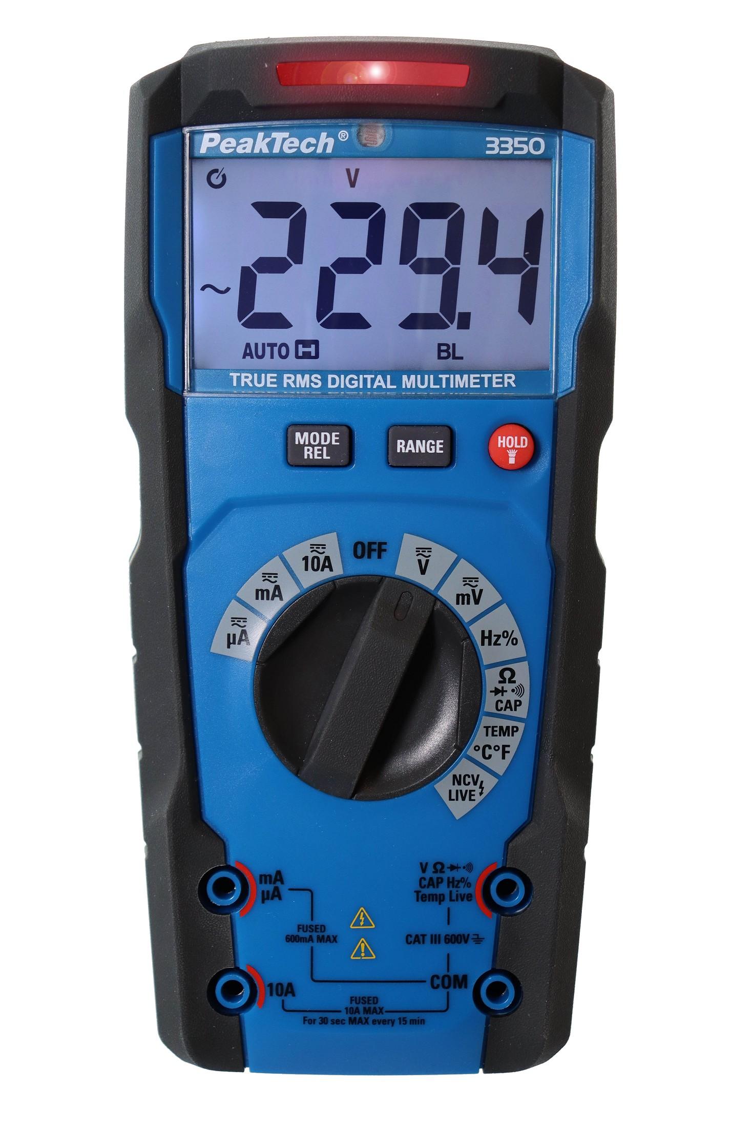 «PeakTech® P 3350» TrueRMS digital multimeter ~ Auto. Range ~ 6.000 Counts ~ 600 V / 10 A AC/DC