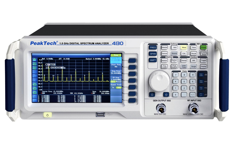 «PeakTech® P 4130» 1,5 GHz spectrum analyzer ~ with TFT display, tracking generator and LAN / USB
