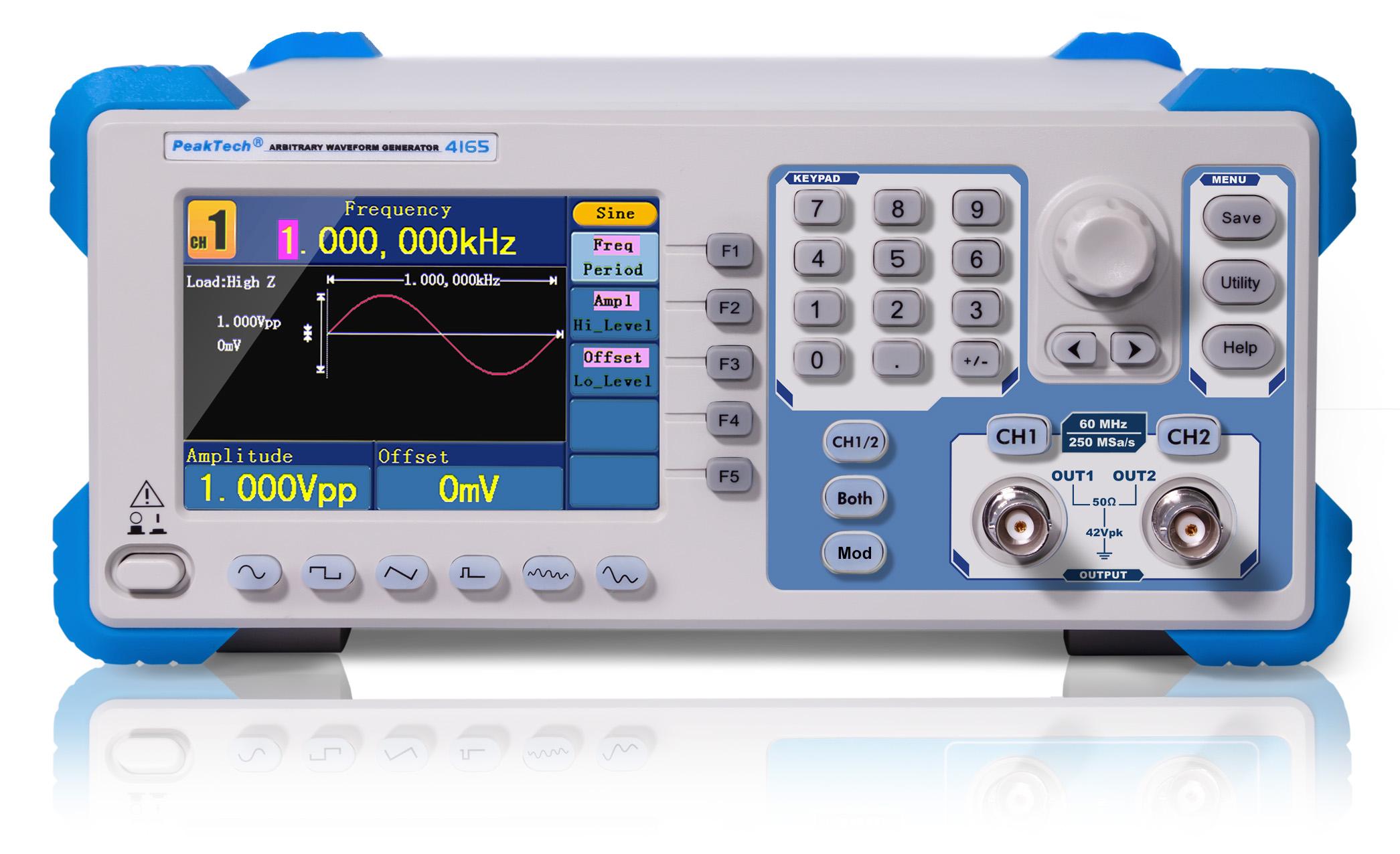 «PeakTech® P 4165» 2CH Arbitrary Waveform Generator, 1 µHz – 60 MHz