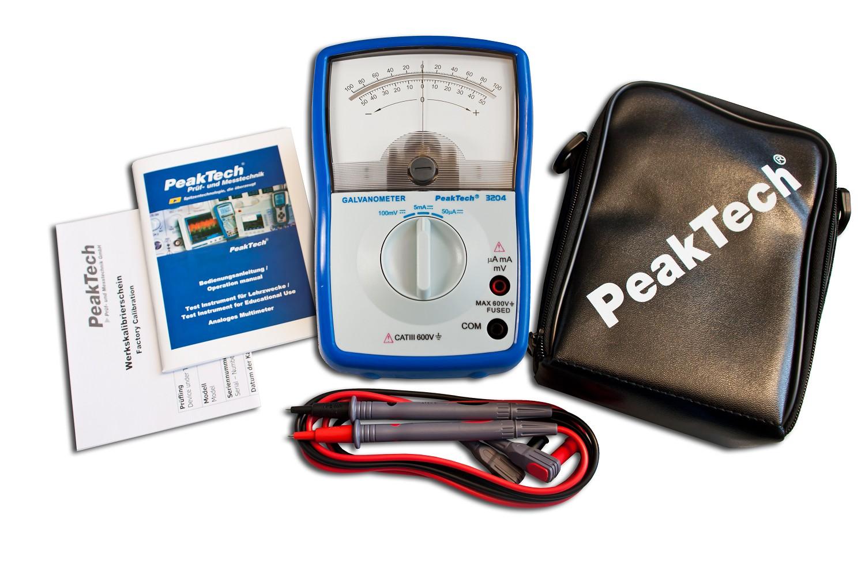 «PeakTech® P 3204» Analog galvanometer, +/- 50µA / 5 mA / 100 mV DC