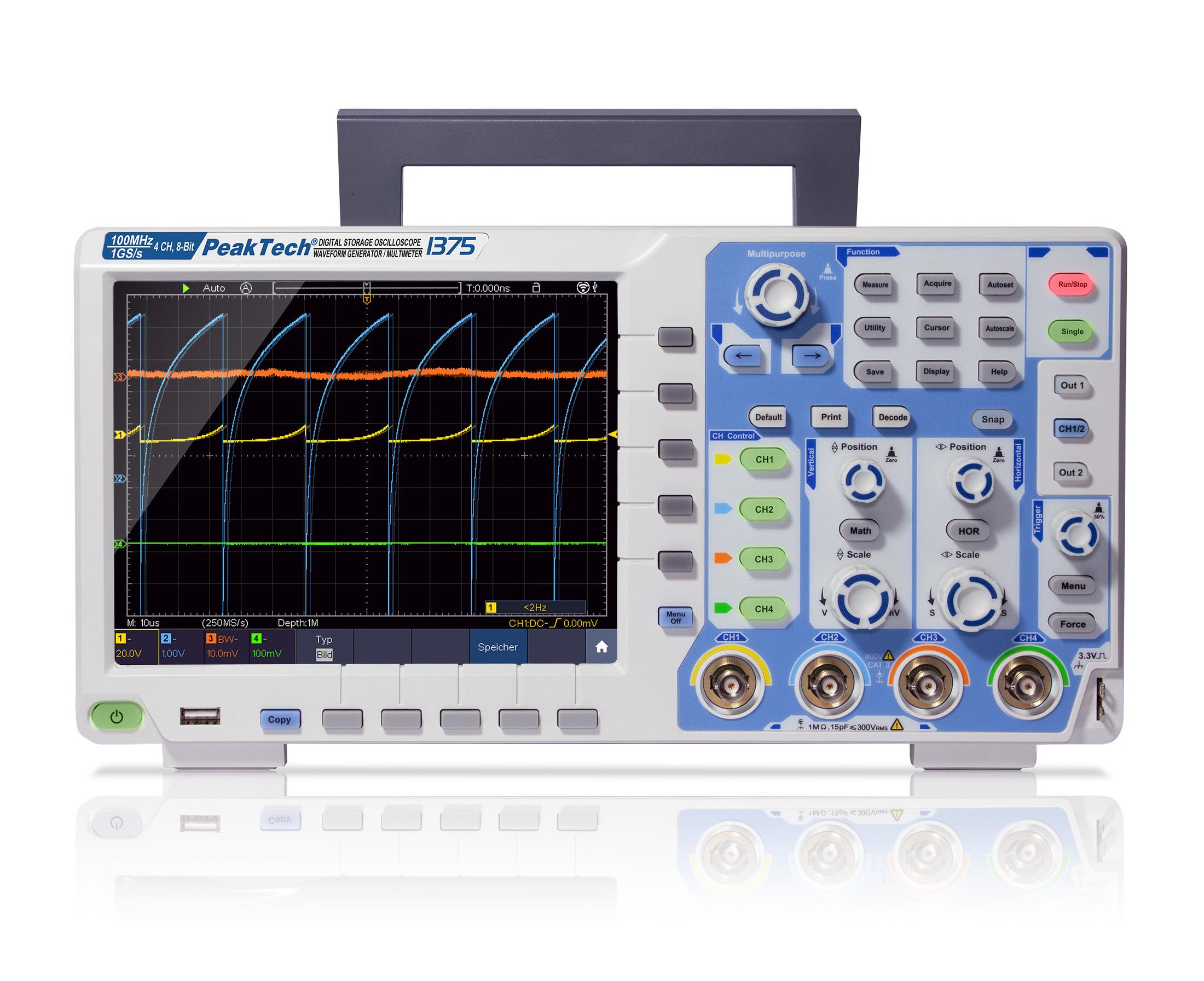 «PeakTech® P 1375» 100 MHz / 4 CH, 1 GS/s touchscreen oscilloscope