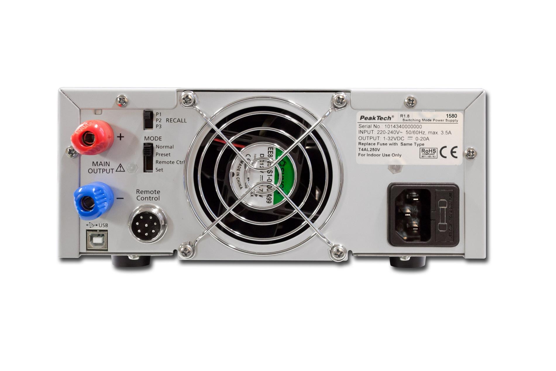 «PeakTech® P 1580» Laboratory power supply DC 1 - 32V / 0 - 30A & USB